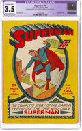 Golden Age (1938-1955):Superhero, Superman #1 (DC, 1939) CGC Apparent VG- 3.5 Extensive (B-5) Cream to off-white pages....
