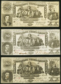 Confederate Notes:1861 Issues, CT20/141-1 Counterfeit $20 1861 Very Fine;. CT20/142 Counterfeit $20 1861 Very Fine;. CT20/142 Counterfeit $20 1861 Ch... (Total: 3 notes)