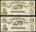 Confederate Notes:1861 Issues, CT10/39B Counterfeit $10 1861 Two Examples. Fine.. ... (Total: 2 notes)