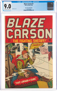Blaze Carson #1 Mile High Pedigree (Marvel, 1948) CGC VF/NM 9.0 Off-white to white pages