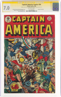Captain America Comics #54 Signature Series: Stan Lee and Al Bellman (Timely, 1946) CGC FN/VF 7.0 Off-white pages