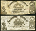 Confederate Notes:1861 Issues, T18 $20 1861 Fine;. CT18/107A Counterfeit $20 1861 Crisp Uncirculated.. ... (Total: 2 notes)