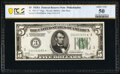 Small Size:Federal Reserve Notes, Fr. 1951-C* $5 1928A Federal Reserve Star Note. PCGS Banknote About Unc 50.. ...