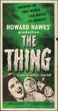 """The Thing from Another World (RKO, R-1954). Folded, Fine. Three Sheet (40.75"""" X 79.25""""). Science Fiction"""