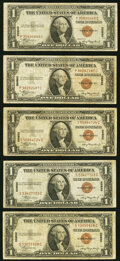 Small Size:World War II Emergency Notes, Fr. 2300 $1 1935A Hawaii Silver Certificates. Five Examples. Fine.. ... (Total: 5 notes)