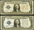 Small Size:Silver Certificates, Fr. 1601 $1 1928A Silver Certificates. I-B and J-B Blocks....