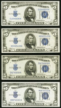 Small Size:Silver Certificates, Fr. 1651 $5 1934A Silver Certificates. G-A, H-A, I-A, and ...