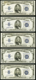 Small Size:Silver Certificates, Fr. 1652 $5 1934B Silver Certificates. Five Examples. Very...