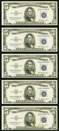 Small Size:Silver Certificates, Fr. 1655 $5 1953 Silver Certificates. Five Consecutive Examples. Choice Crisp Uncirculated.. ... (Total: 5 notes)