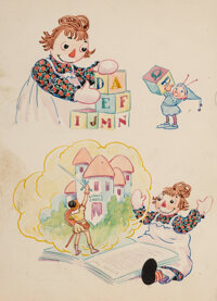Johnny Gruelle (American, 1880-1938) Raggedy Ann's Alphabet Book (three works) Watercolor, ink, and ... (Total: 3)