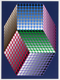 Victor Vasarely (1906-1997) Untitled, late 20th century Serigraph in colors on wove paper 37-1/2 x 28 inches (95.3 x