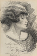 Works on Paper, Harrison Fisher (American, 1875-1934). Lady in Profile, 1921. Pencil on paper. 20-1/2 x 13-1/2 inches (52.1 x 34.3 cm) (...