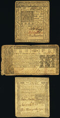Colonial Notes:Pennsylvania, Delaware January 1, 1776 20s About New;. Maryland April 10, 1774 $2/3 Fine;. Pennsylvania April 3, 1772 18d Fine-Very ... (Total: 3 notes)