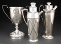 Metalwork, American School (20th Century). Three Golf Trophy Cocktail Shakers. Silver-plated metal. 13-1/2 x 6-3/4 x 5 inches (34.3... (Total: 3 Items)