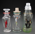 Glass, Various Schools (20th Century). Three Hand-Painted Cocktail Shakers. Hand-painted glass . 11-1/4 x 4-1/4 inches (28.6 x ... (Total: 3 Items)