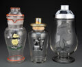 Glass, Various Schools (20th Century). Three Cocktail Shakers with Cartoon Characters. Painted and enameled glass. 10-3/4 x 5-1... (Total: 3 Items)