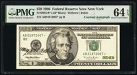 Mary Ellen Withrow Courtesy Autographed Fr. 2083-B* $20 1996 Federal Reserve Star Note. PMG Choice Uncirculated 64 EPQ...