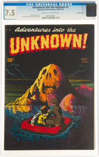 Adventures Into The Unknown #2 Crowley Copy Pedigree (ACG, 1948) CGC VF- 7.5 Cream to off-white pages