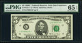 Small Size:Federal Reserve Notes, Fr. 1972-L* $5 1969C Federal Reserve Star Note. PMG Gem Un...