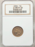1858 P1C Indian Cent, Judd-208, Pollock-259, R.1, PR63 NGC. NGC Census: (19/30). PCGS Population: (40/65). From The ...(...