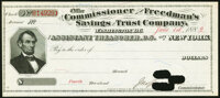 Washington, DC- Office of the Commissioner of the Freedman's Savings and Trust Company Fourth Dividend Check June 1, 188...