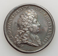 1693 French Peace Medal, Silver, Betts-75 Variant, AU Details, Glue Residue. 35 mm