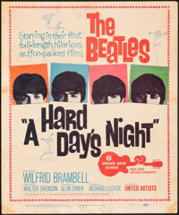 """A Hard Day's Night (United Artists, 1964). Fine. Trimmed Window Card (14"""" X 16.75""""). Rock and Roll"""