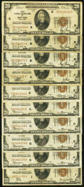 Small Size:Federal Reserve Bank Notes, Fr. 1870-B (3); C; E; G (4); J $20 1929 Federal Reserve Bank Note. Fine.. ... (Total: 10 notes)