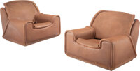De Sede (Swiss, est. 1962) Pair of Lounge Chairs, circa 1975 Leather, steel 30-1/4 x 38 x 43-1/4 inches (76.8 x 96.5...