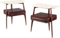 Furniture, Silvio Cavatorta (Italian, 20th century). Pair of Side Tables, mid -20th century . Lacquered wood, marble. 22 x 19-3/4 x... (Total: 2 Items)