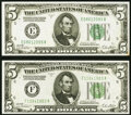 Small Size:Federal Reserve Notes, Fr. 1952-E $5 1928B Federal Reserve Note. Very Fine;. Fr. 1952-F $5 1928B Federal Reserve Note. About Uncirculated.. ... (Total: 2 notes)