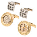 Estate Jewelry:Cufflinks, Diamond, Colored Diamond, Ancient Coin, Gold Cuff Links. ... (Total: 2 Items)