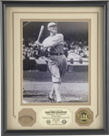 Baseball Collectibles:Others, Shoeless Joe Jackson Bat Piece Framed with Photograph. Issued andauthenticated by the Highland Mint, we offer a piece of a...