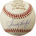 Autographs:Baseballs, Sandy Koufax Single Signed Stat Ball. During his heyday the Hall of Fame lefty ace Sandy Koufax puzzled and overpowered hit...