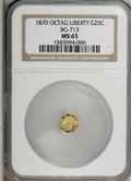 California Fractional Gold: , 1870 25C Liberty Octagonal 25 Cents, BG-713, R.4, MS65 NGC. . NGCCensus: (2/3). PCGS Population (22/7). (#10540)...