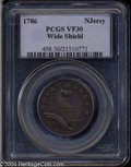1786 COPPER New Jersey Copper, Wide Shield VF30 PCGS. Maris 20-N, R.4. The 17 in the date is widely spaced on this scarc...