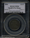 Half Cents: , 1806 1/2 C Small 6, No Stems VF20 PCGS. B-3, C-1, R.1. ...