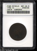 Large Cents: , 1793 Chain 1C AMERICA--Corroded--ANACS. Fine Details, Net ...