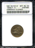 Flying Eagle Cents: , 1858/7 1C --Corroded, Cleaned--ANACS. Unc Details, Net AU50.