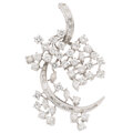 Estate Jewelry:Brooches - Pins, Diamond, White Metal Brooch . ...