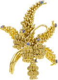 Estate Jewelry:Brooches - Pins, Tiffany & Co. Sapphire, Gold Brooch Stones: Ro...