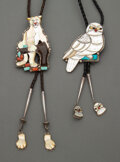 American Indian Art:Jewelry and Silverwork, Two Southwest Bolo Ties c. 1970 and 1990