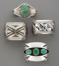 American Indian Art:Jewelry and Silverwork, Four Southwest Cuff Bracelets... (Total: 4 )