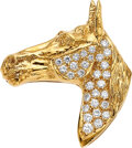 Estate Jewelry:Brooches - Pins, Peter Lindeman Diamond, Gold Pendant-Brooch. ...