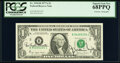Small Size:Federal Reserve Notes, Azie Taylor Morton and G. William Miller Dual Courtesy Autographed Fr. 1910-B $1 1977A Federal Reserve Note. PCGS Superb Gem N...