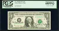 Azie Taylor Morton and G. William Miller Dual Courtesy Autographed Fr. 1910-B $1 1977A Federal Reserve Note. PCGS Superb...