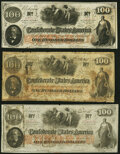 Confederate Notes:1862 Issues, T41 $100 1862 Three Examples Fine or Better.. ... (Total: 3 notes)