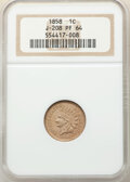 1858 P1C Indian Cent, Judd-208, Pollock-259, R.1, PR64 NGC. NGC Census: (17/13). PCGS Population: (42/23). From The ...(...