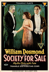 """Society for Sale (Triangle, 1918). Folded, Fine/Very Fine. One Sheet (27.75"""" X 41"""")"""