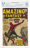 Silver Age (1956-1969):Superhero, Amazing Fantasy #15 (Marvel, 1962) CBCS Restored GD+ 2.5 (Moderate) White pages....